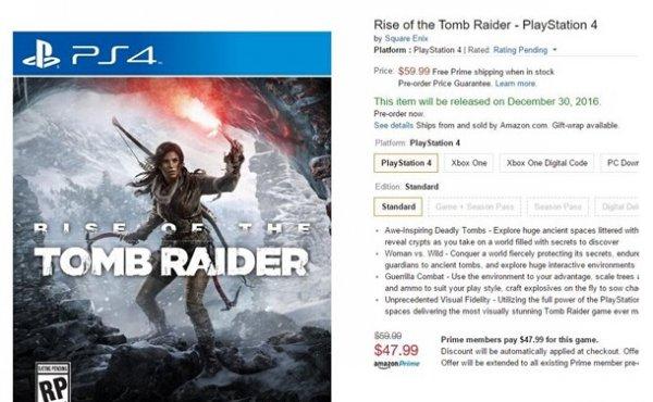 来得晚且贵《古墓丽影:崛起》PS4预售开启