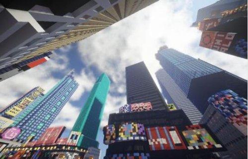 《我的世界》高级玩家逼真还原时代广场