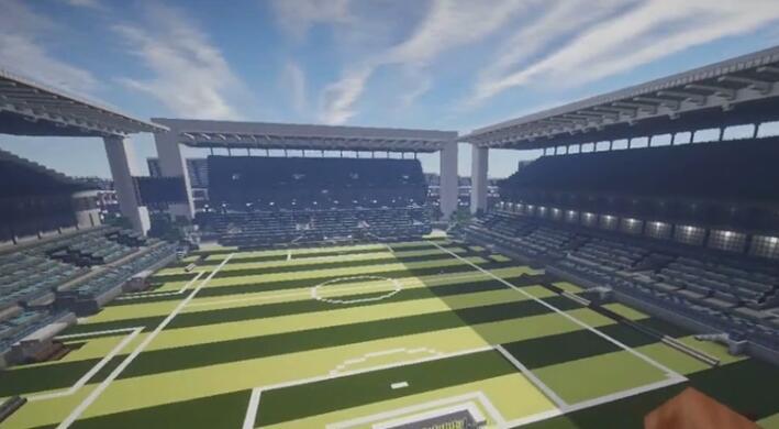 我的世界命令方块建造足球场 来踢欧洲杯