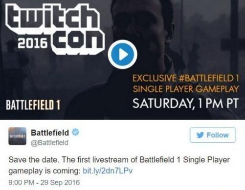 《战地1》单人战役和多人模式首个演示将公布