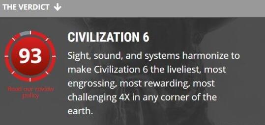 《文明6》首个媒体评价公布:4X游戏之最
