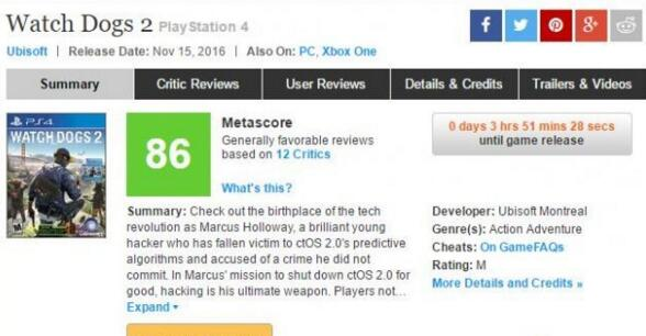 《看门狗2》首批评分出炉 IGN只给及格分