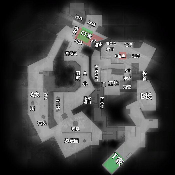 死亡游樂園(de_overpass)地圖 中英文報點